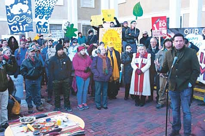 On Jan. 5, more than 300 people protested PNM's energy plan. Community groups from the Navajo Nation led the demonstration. Santa Fe Mayor Javier Gonzales, (above, right), Rep. Brian Egolf and the Latino group Juntos were among the speakers calling for clean replacement power.